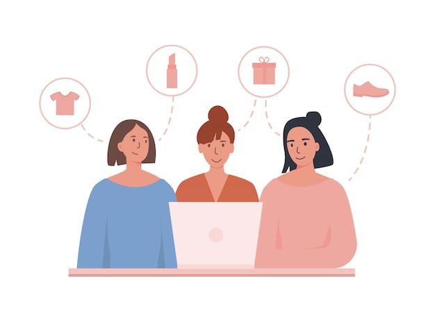 ノートパソコンを使用してオンラインで注文するガールフレンド。小売店で友達と一緒に買い物。ギフト、靴、化粧品、服など、さまざまなアイテムを選びます。 Premiumベクター
