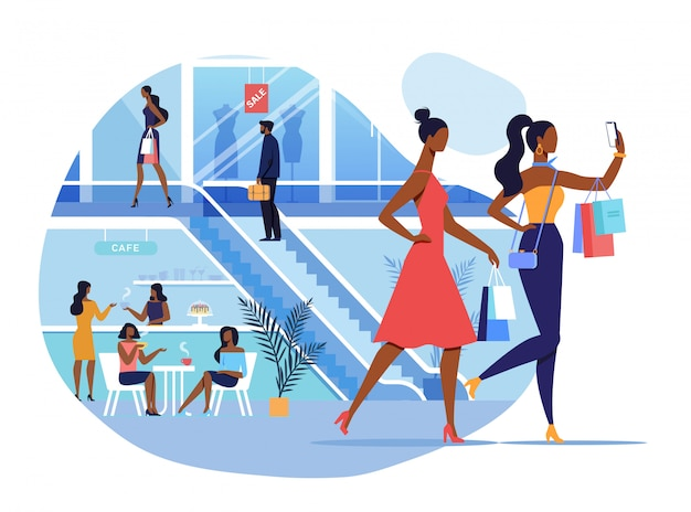Girlfriends in shopping mall illustration Premium Vector
