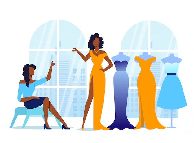 Girlfriends try on clothes illustration Premium Vector