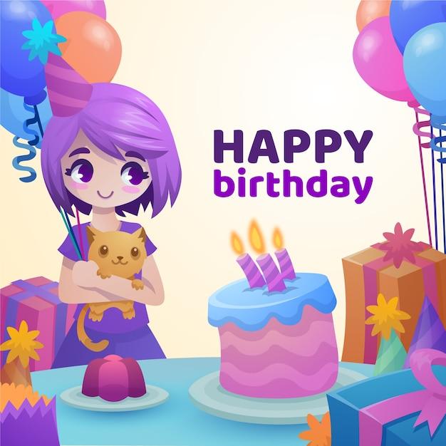 С днем рождения иллюстрация girlholding ее кошка Бесплатные векторы