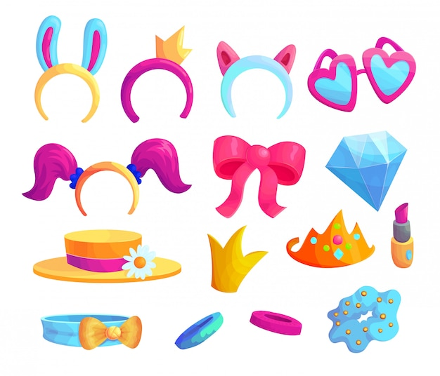 Girlish fashion items cartoon vector stickers set. cute female accessories icon collection. stylish princess patches bundle isolated on white background. beauty and glamour design elements Premium Vector