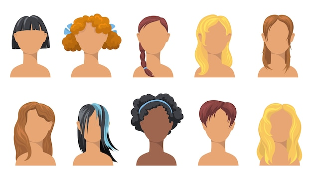 Girlish trendy hairdo set. stylish haircuts for girls of different ethnicity, hair types, colors and length. Free Vector