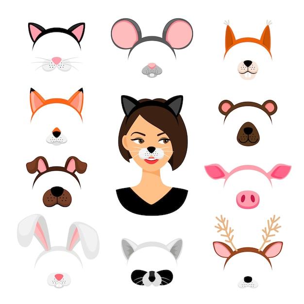 Girls animals masks set Premium Vector