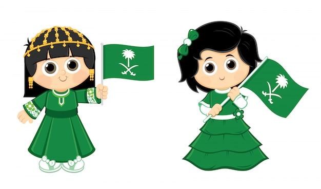 Girls are carrying saudi arabia ( ksa ) flag logo Premium Vector