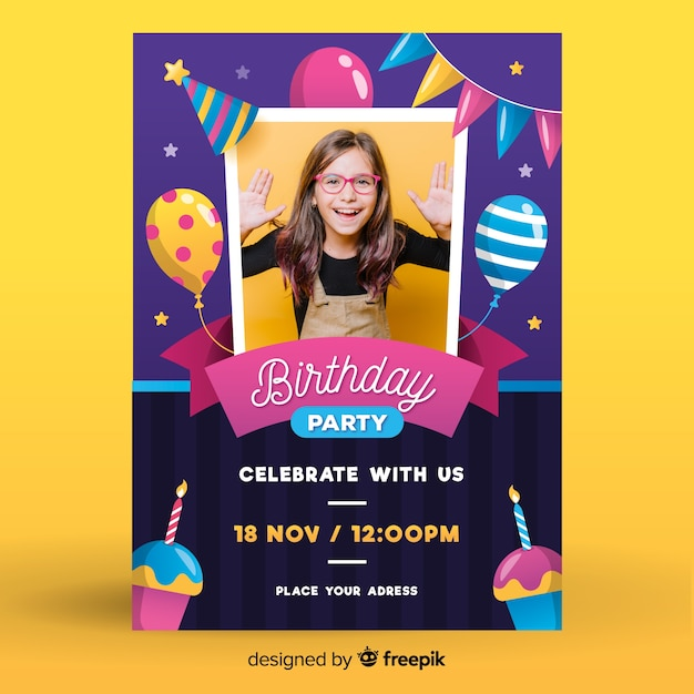 Girls birthday invitation template with photo Free Vector