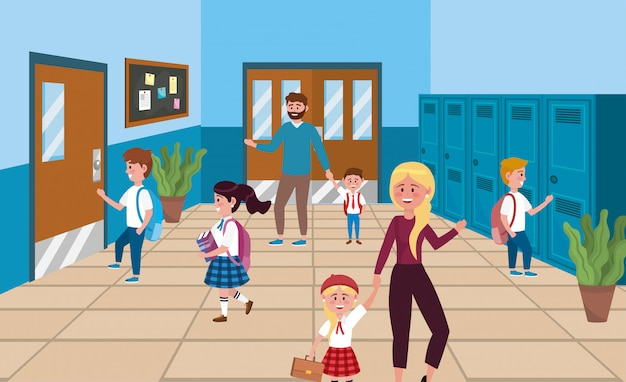 Girls and boys students with locker and mother with father Free Vector
