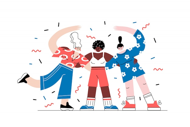 Girls characters of different nationalities hug together. no racism concept in cartoon flat style isolated on white. black lives matter. the idea of peace and equality. Premium Vector