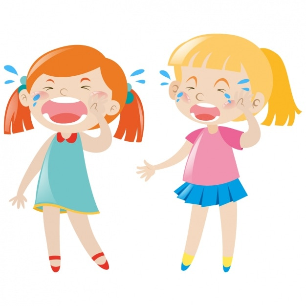 Girls crying design Free Vector