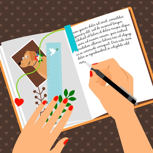 Girls diary with writing secrets Premium Vector