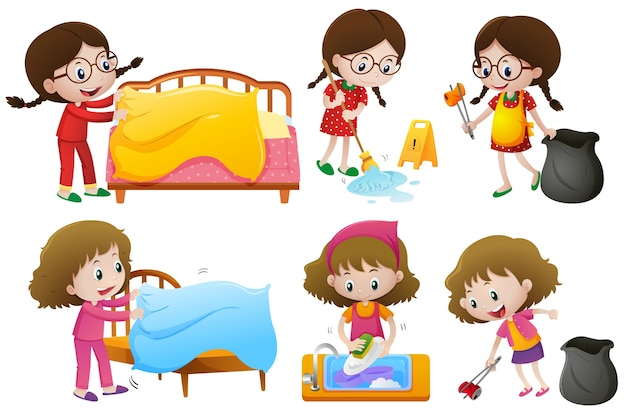 Girls doing different chores Vector | Free Download