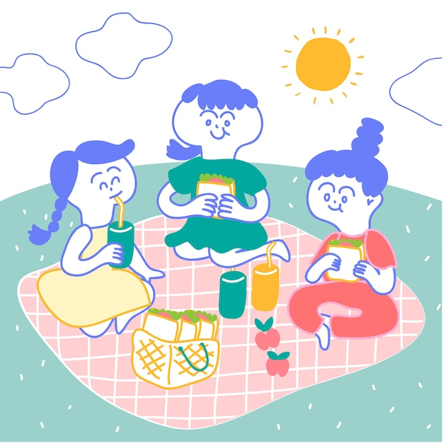 Girls go picnic in the garden, sitting on pink mat. they have sandwiches and bottle of jui Premium Vector