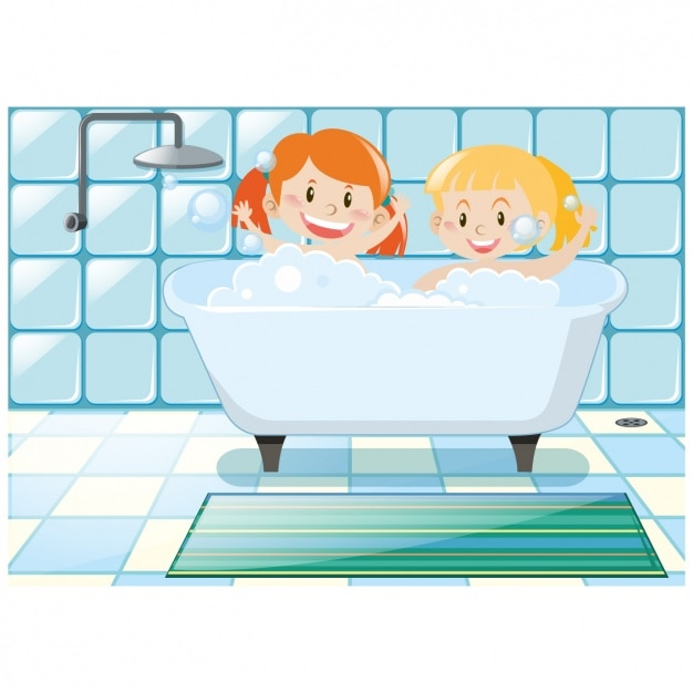 Girls having a bath background Vector   Free Download