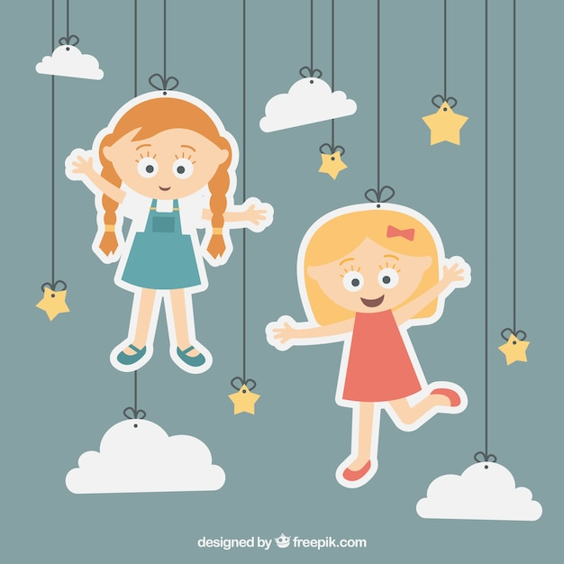 Girls illustration hanging on a rope Free Vector