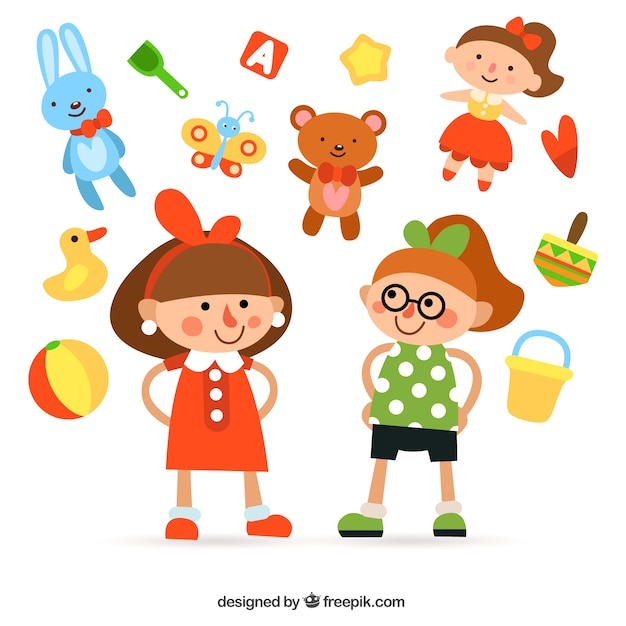 Girls illustration and toys Free Vector