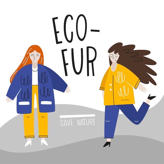 エコファーコートの女の子。現代ベクトルイラスト。自然保護のコンセプト。フラットスタイル Premiumベクター