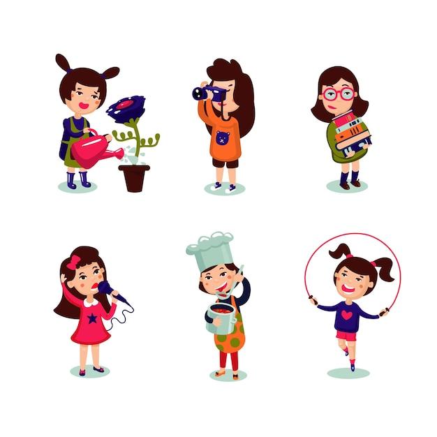 Set di interessi di ragazze Vettore gratuito