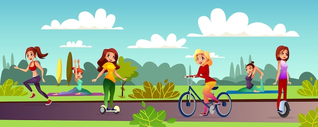 Girls leisure illustration of young women\ recreation in outdoor park.