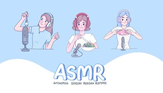 女の子はasmrの漫画のキャラクターを作ります。 Premiumベクター