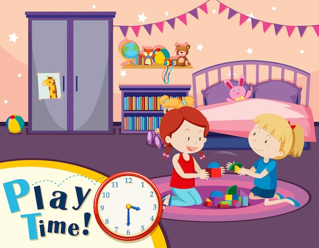 침실에서 장난감을 재생하는 여자 프리미엄 벡터