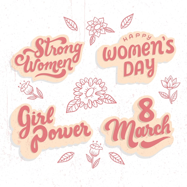 Girls power lettering badge women's day collection Free Vector