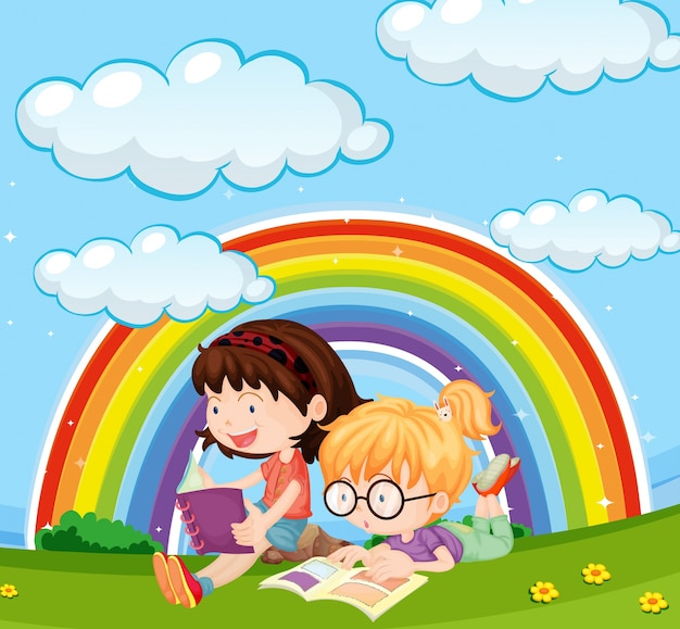 Girls reading book in park with rainbow in sky Free Vector
