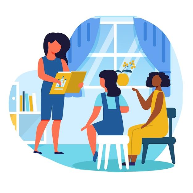 Девочки, читающие сказочную квартиру Premium векторы