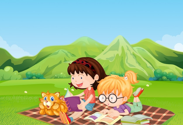 Girls reading at the field Free Vector
