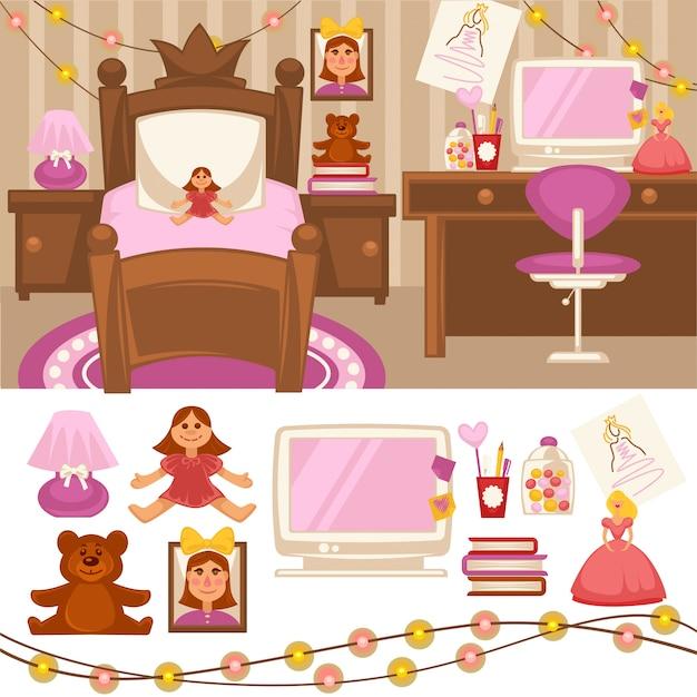 Girls room bedroom set of furniture for girls. Premium Vector