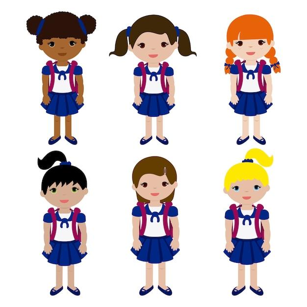 Girls In School Uniform And Backpack Premium Vector