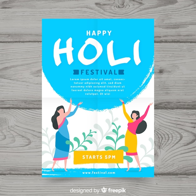 Girls silhouettes holi festival party poster Free Vector