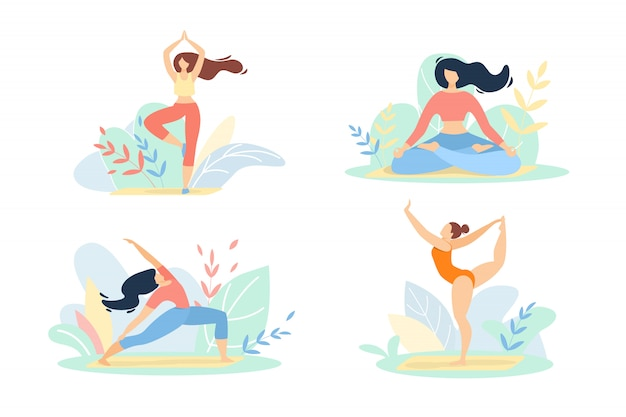 Girls in sports wear engage fitness or yoga set isolated on white Premium Vector