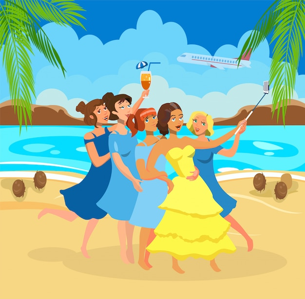 Girls taking selfie on beach vector illustration. Premium Vector