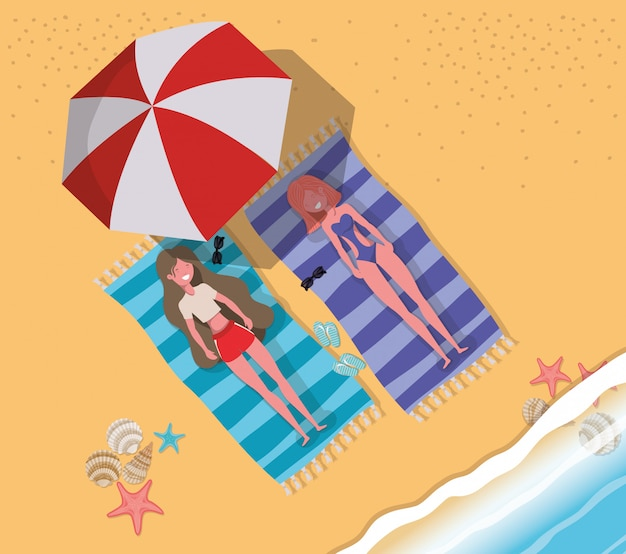 Girls tanning with swimwear Free Vector