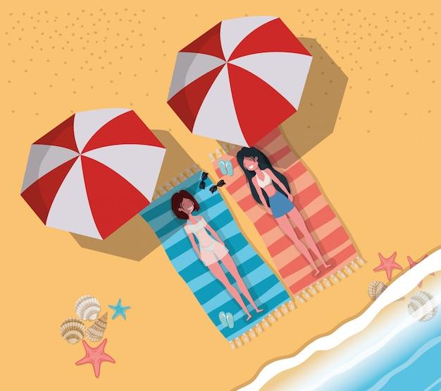 Girls tanning with swimwear Free Vector