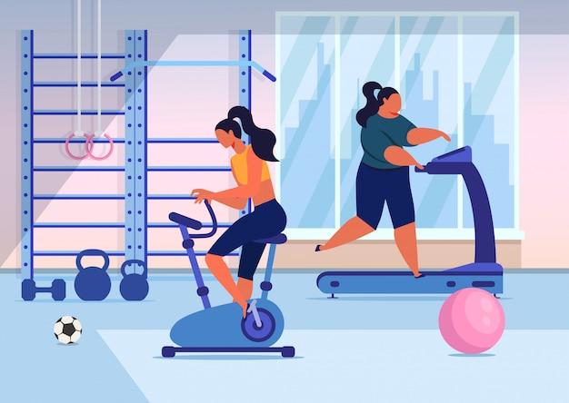 Girls training in gym flat Premium Vector