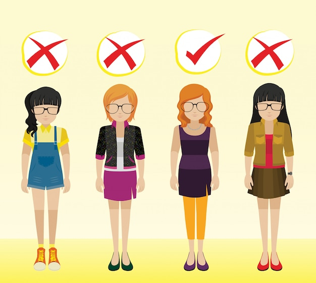Girls with different attires Free Vector