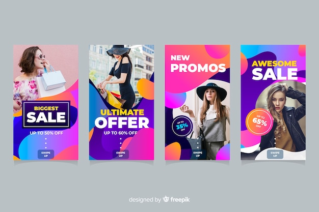 Girls with sale offers instagram stories collection Free Vector