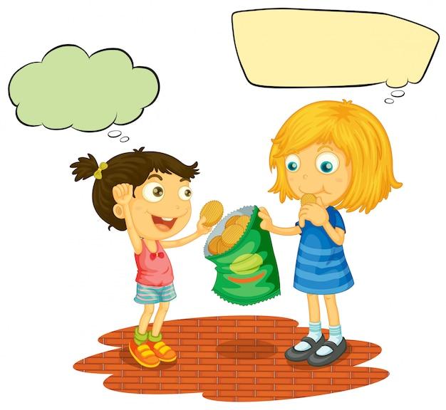 Girls with speech balloon Premium Vector