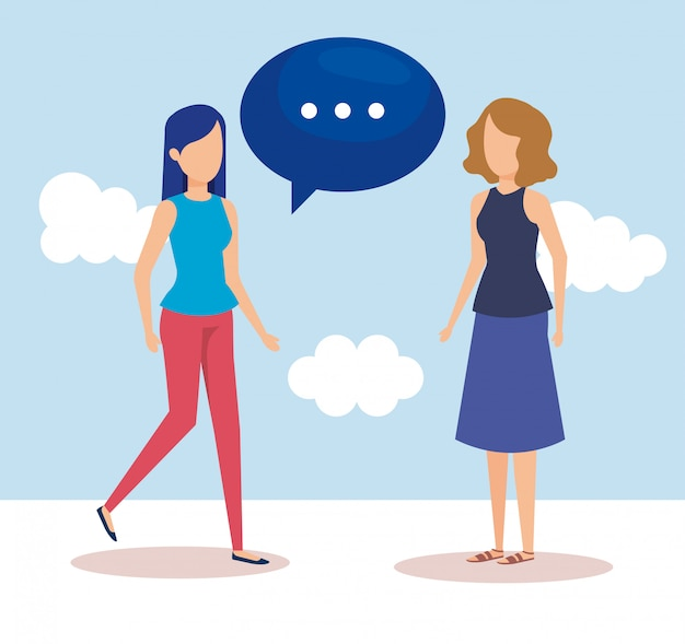 Girls with speech bubbles Free Vector