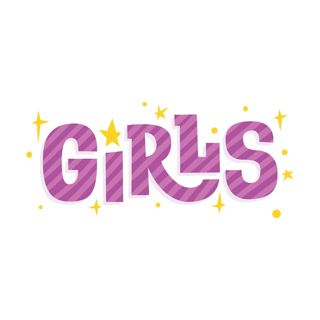Girls with stars. funny inscription in the children's style. Premium Vector