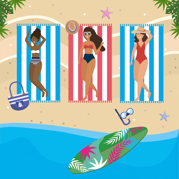 Girls with swim wear Premium Vector