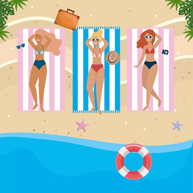 Girls with swim wear Premium Vector