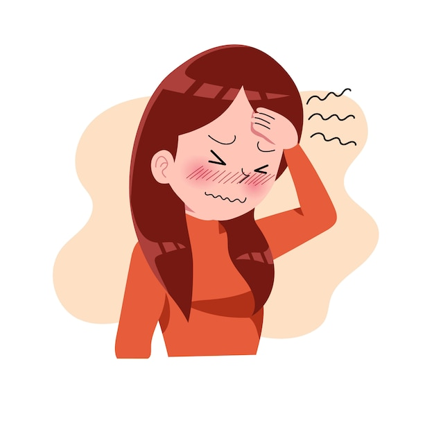 Girls Or Woman Or People Having Headache Migraine Stress Depression Frustration And Anger Expression Sickness Concept Isolated Illustration In Flat Cartoon Style Health And Medical Premium Vector