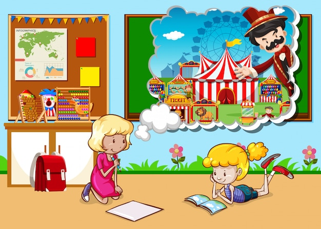 Girls working in the classroom Free Vector