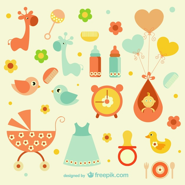 Girly baby icons Free Vector