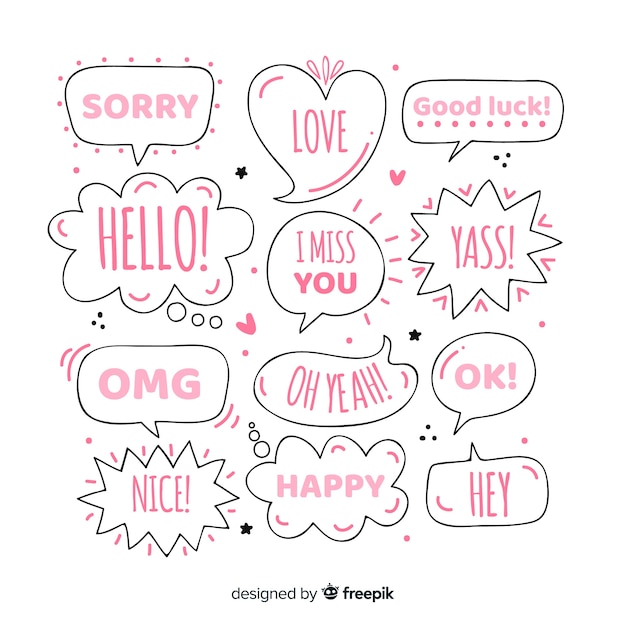 Girly hand drawn speech bubbles with different expressions Free Vector