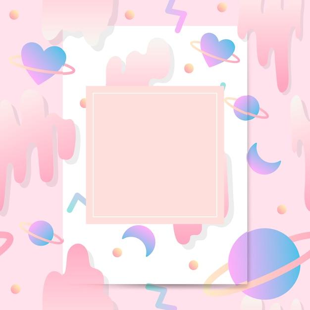 Girly pastel card mockup vector Free Vector