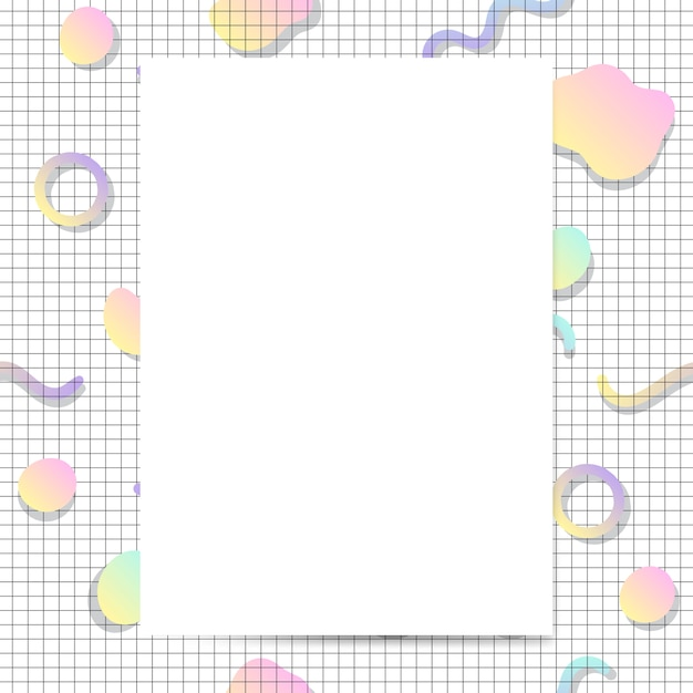 Girly pastel card mockup vector Free Vector