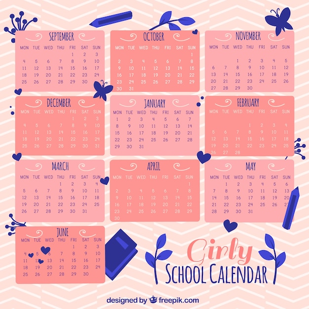 Calendar Girly : Girly school calendar with flowers vector free download