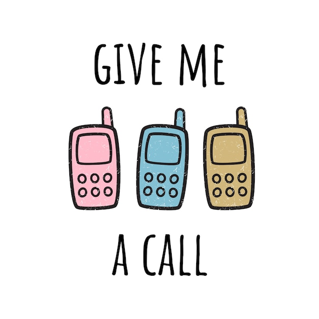 Give me a call. illustration with mobile phone. Premium Vector